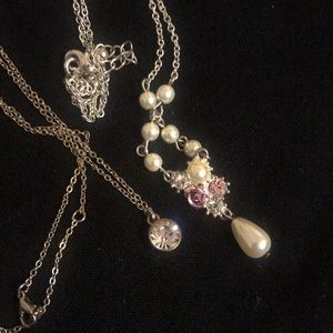 White pearl and diamond necklace